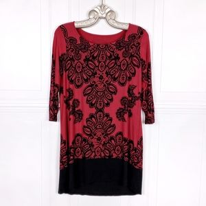 SOMA Lace Print Soft Stretch Tunic Top Dress Small